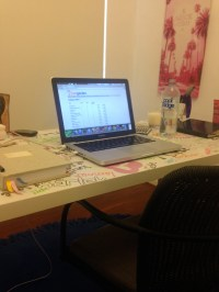 writing workspace, home office, what items are in your ...