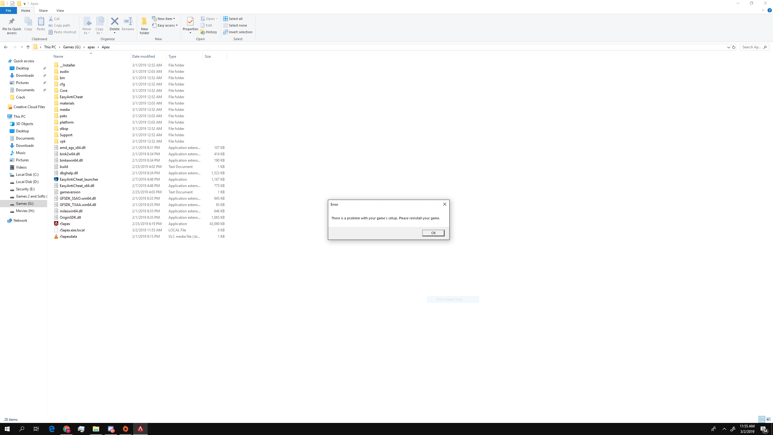 Solved: There is a problem with your game's setup please