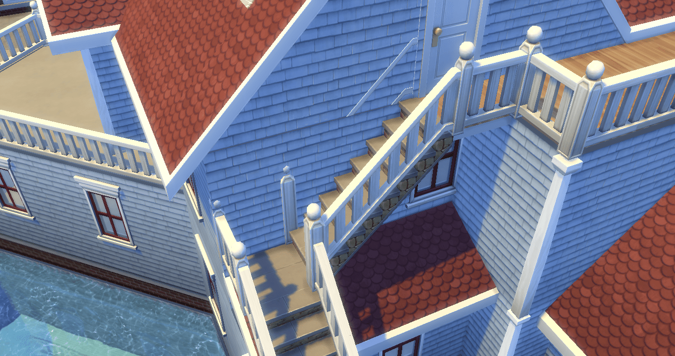 Solved Fixed Stair Rails Popping Through Walls And Windows | Sims 4 Stair Railing One Side | Stair Case | Build | Shaped Stairs | Spindles | Steel Handrail