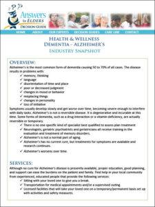 Health & Wellness: Industry Snapshot for Dementia - Alzheimer's