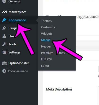 click appearance, then menus
