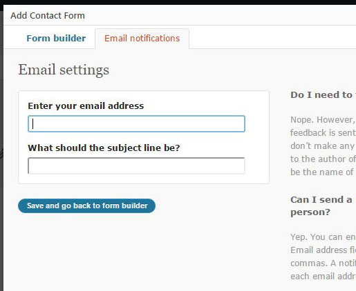 customize Jetpack email notifications for contact form