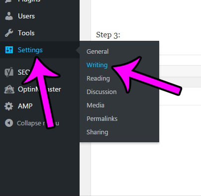 hover over settings, then click the writing option