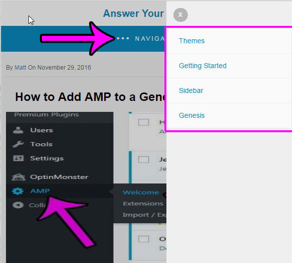 example wordpress amp menu