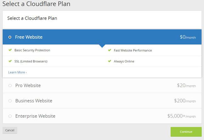 choose a cloudflare plan