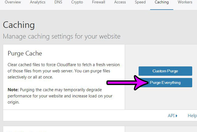 how to clear cloudflare cache