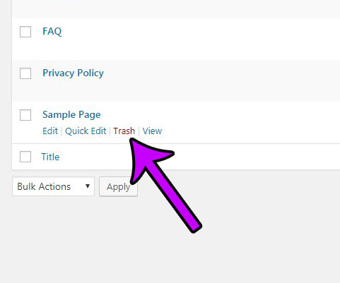 how to delete a page in wordpress
