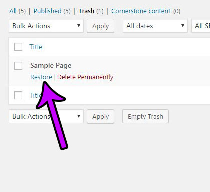 how to restore a deleted wordpress page