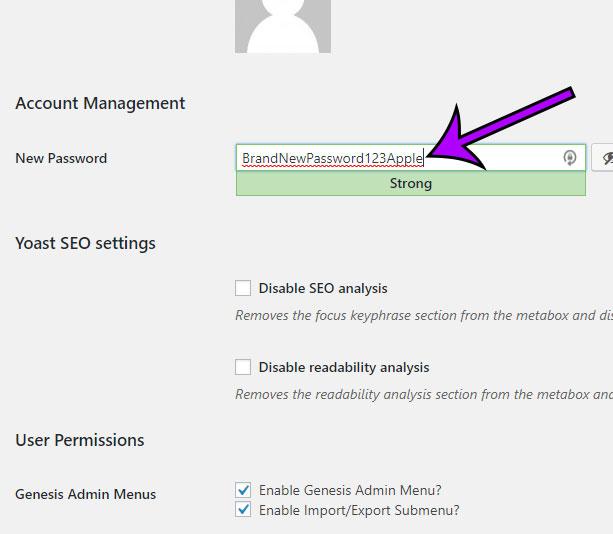 how to create new user password in wordpress