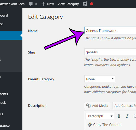 how to rename a category in wordpress