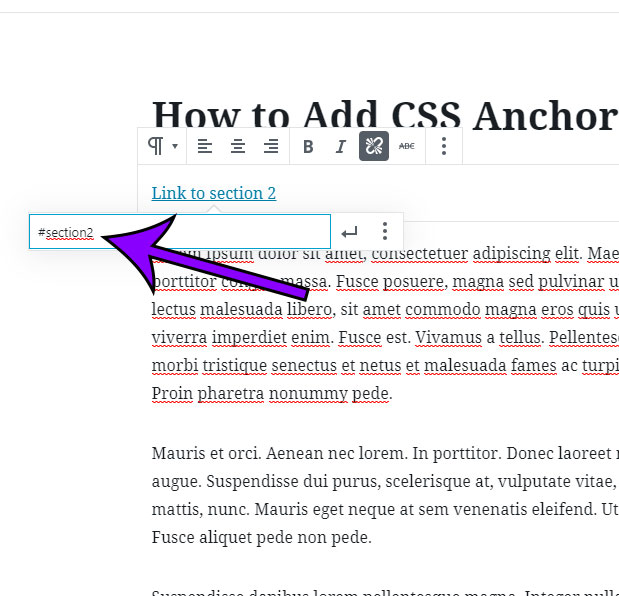 create a link to the anchor that you just created