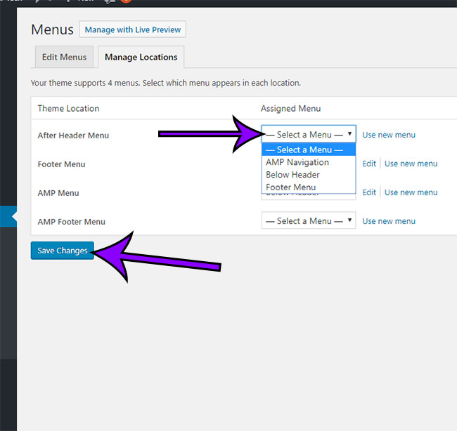 how to change which menu to use in a wordpress theme menu location
