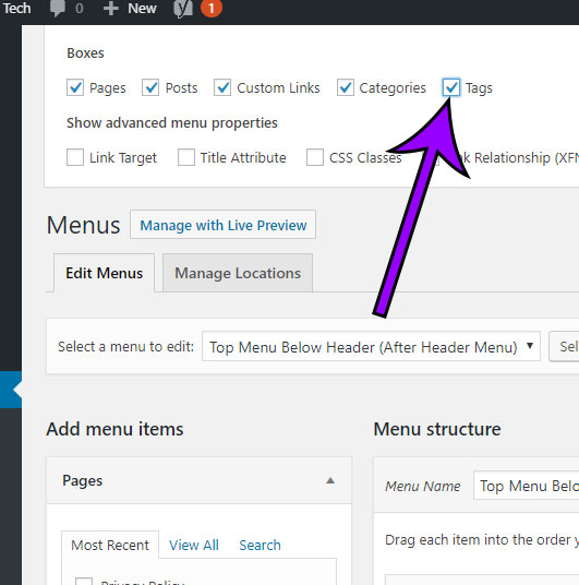 how to add tags to a menu in wordpress