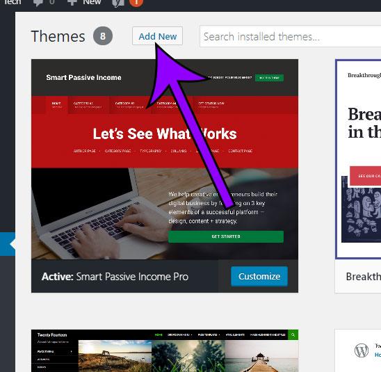 click the add new button