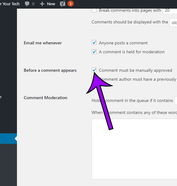 how to require manual approval of comments in wordpress