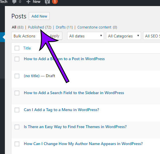 how to view the number of different types of posts in wordpress