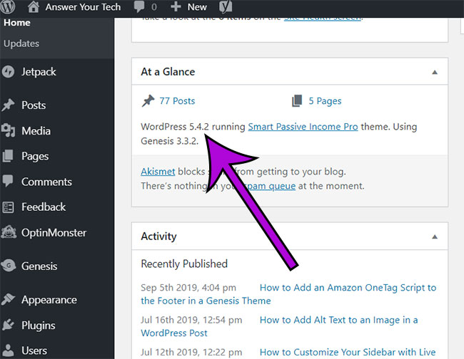 how to find your WordPress version number