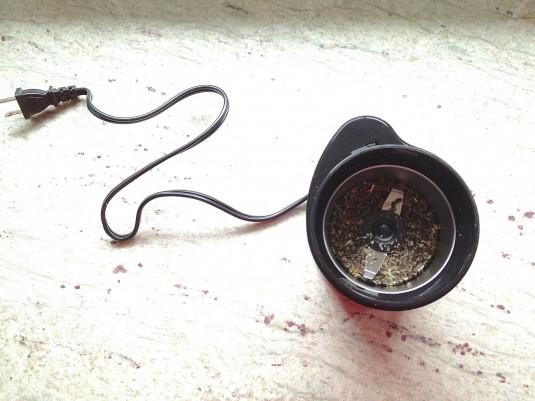 cardamom seeds in grinder