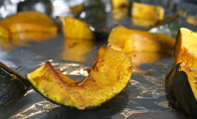 roasted kabocha squash for coconut curry soup