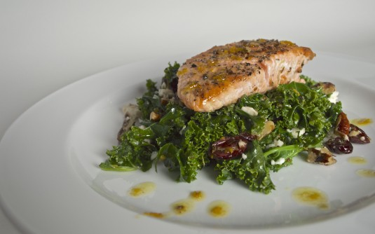 kale salad orange vinaigrette with salmon