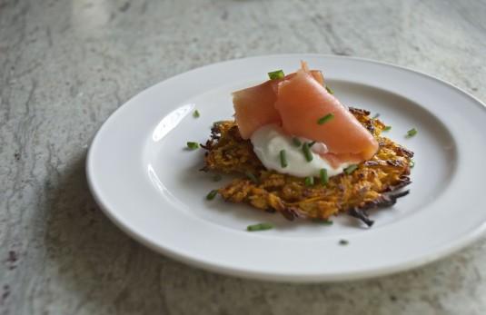 sweet potato latke with smoked salmon