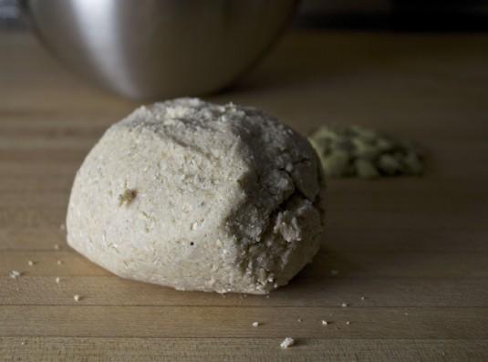oat cardamom shortbread dough