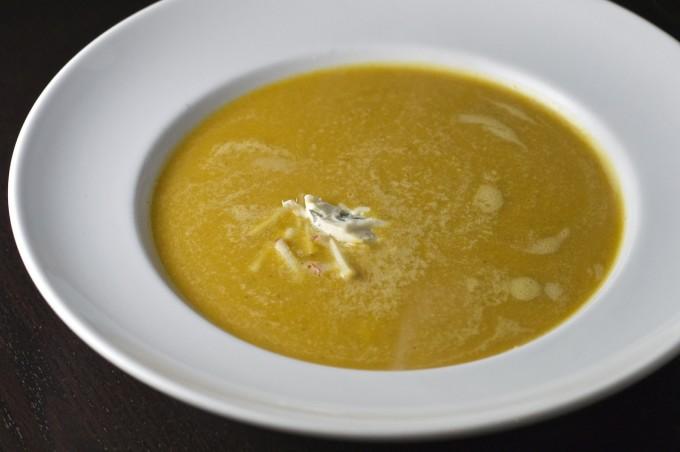 butternut squash apple soup in bowl