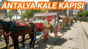Antalya Kale Kapısı Saat Kulesi Yivli Minare Faytoncular Tramvay Tatil Gezi Tur