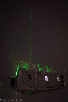 The LiDAR glows green atop the MSF