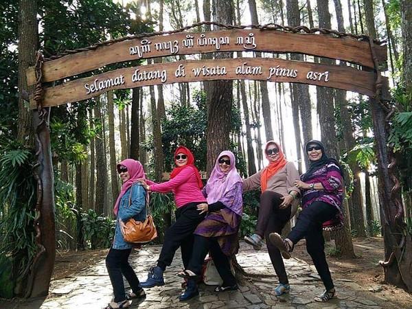 Paket tour Yogyakarta, rombongan ibu-ibu berfoto di gerbang pinus asri bantul