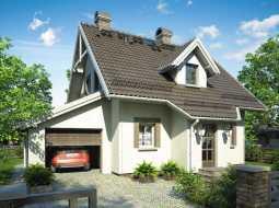 Проект мансардного дома с гаражом, террасой и балконом «КМ-82»