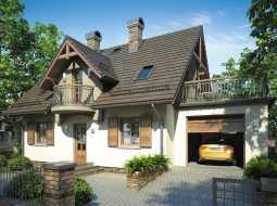 Проект мансардного дома с гаражом, террасой и балконом «КМ-73»