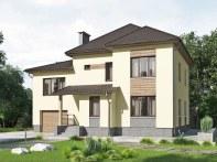 Проект двухэтажного дома с гаражом и террасой «КД-21»