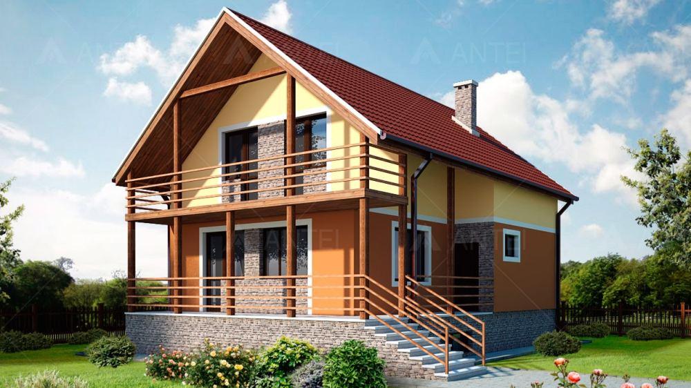 Проект мансардного дома с террасой «КМ-1» - фото №1