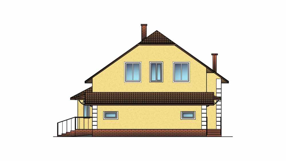Фасад мансардного дома с гаражом «КМ-19» - справа