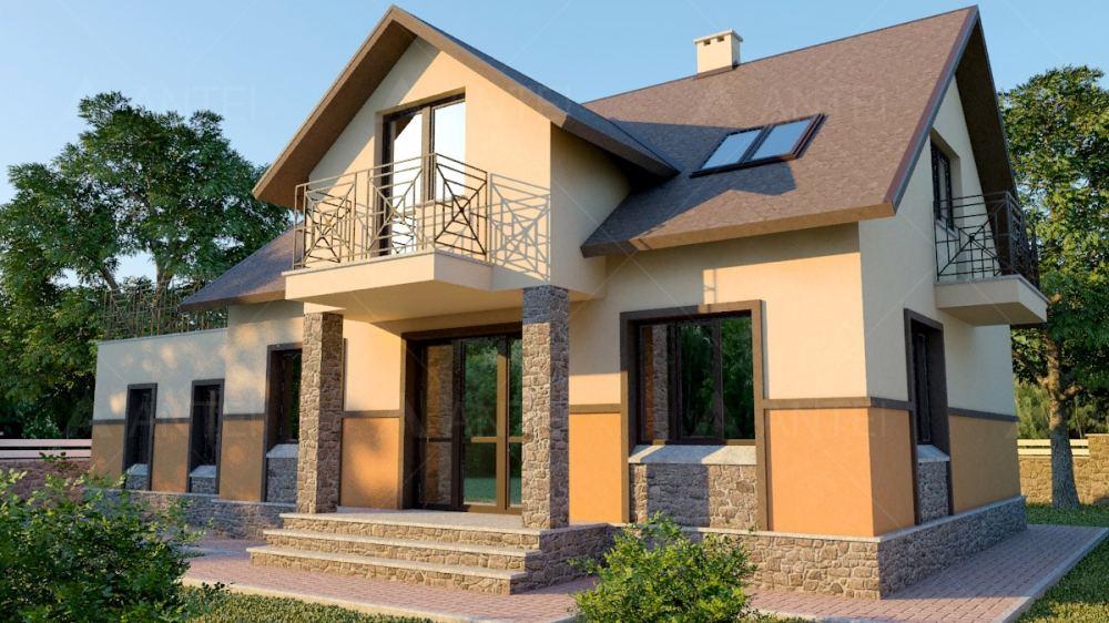 Проект мансардного дома с гаражом, террасой и балконом «КМ-37» -фото №2