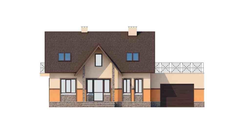 Фасад мансардного дома с гаражом, террасой и балконом «КМ-37» - спереди