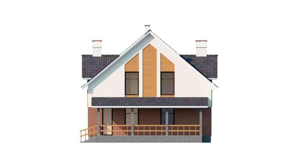 Фасад мансардного дома с террасой и балконом «КМ-60» -сзади