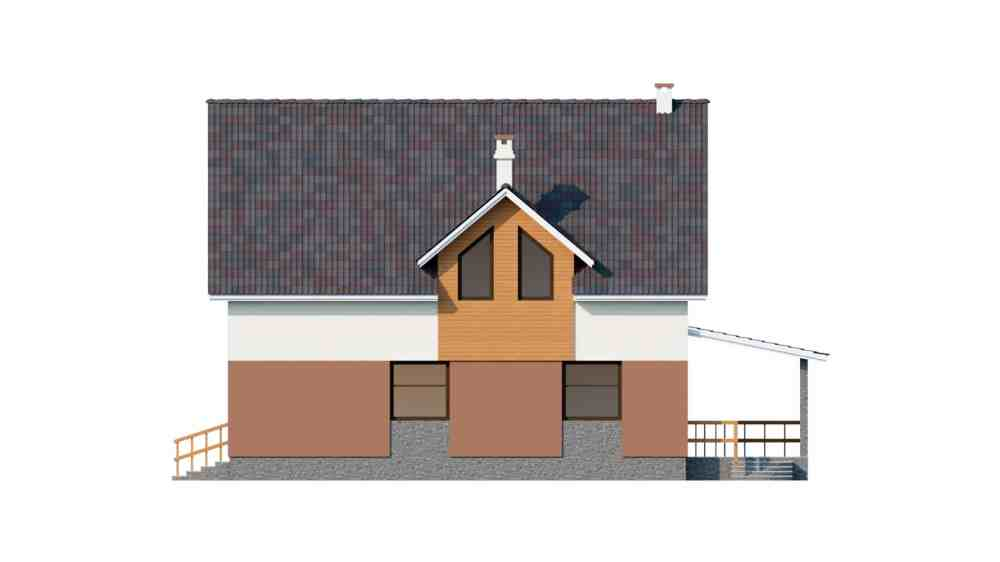 Фасад мансардного дома с террасой и балконом «КМ-60» -слева