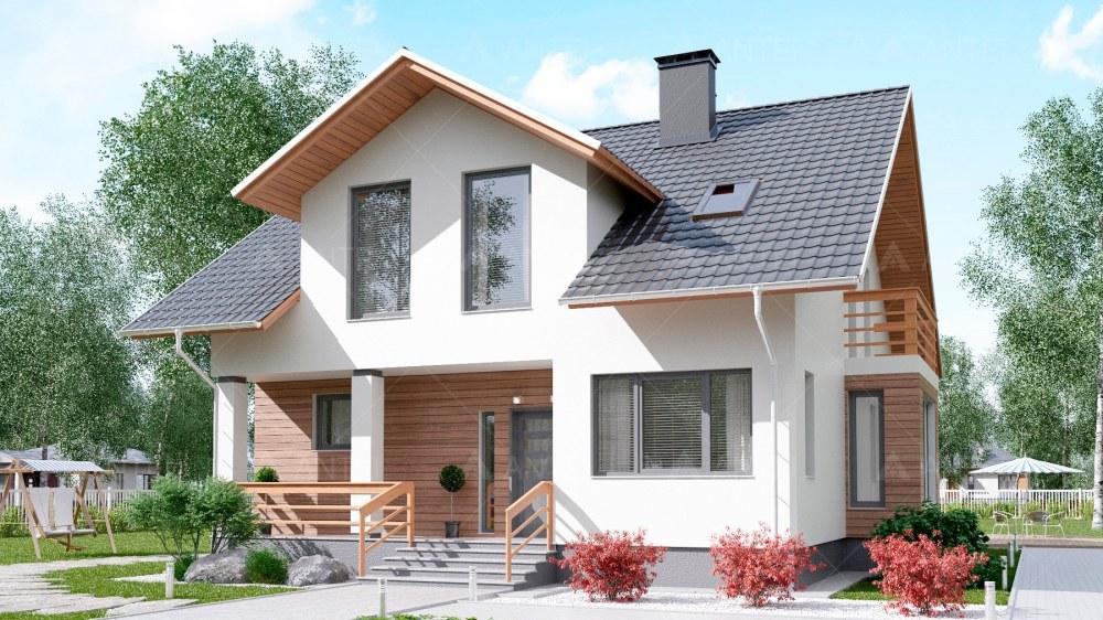 Проект мансардного дома с террасой «КМ-90» - фото №1