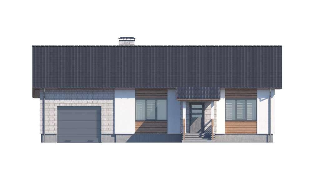 Фасад одноэтажного дома с гаражом и верандой «КО-117» - спереди