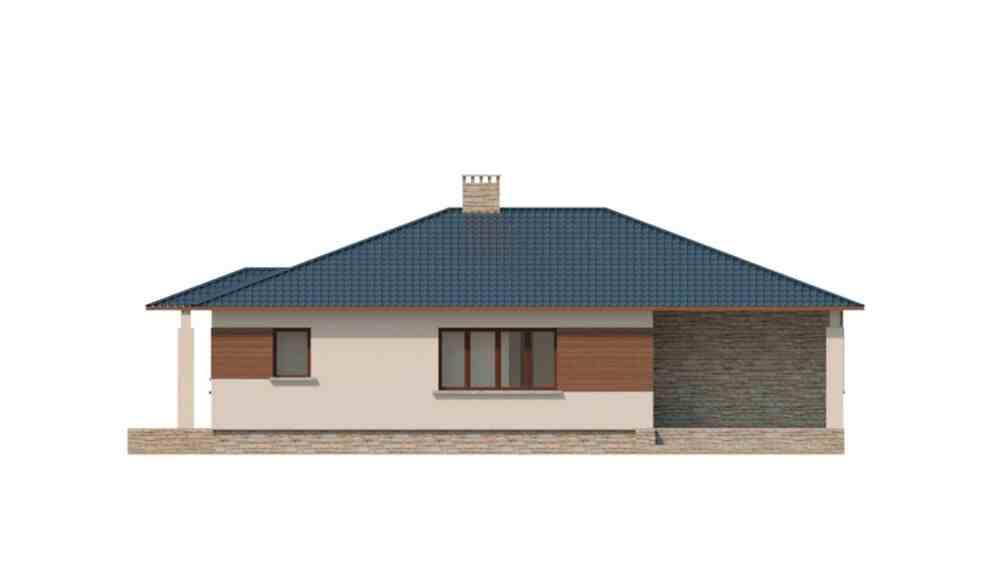 Фасад одноэтажного дома с террасой «КО-122» - справа