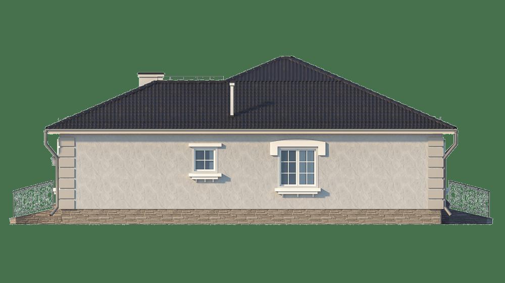 Фасад одноэтажного дома с террасой «КО-25» - справа