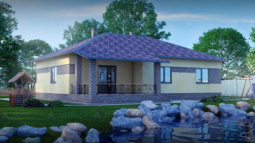 Проект одноэтажного дома с гаражом и террасой «КО-51» - фото №1