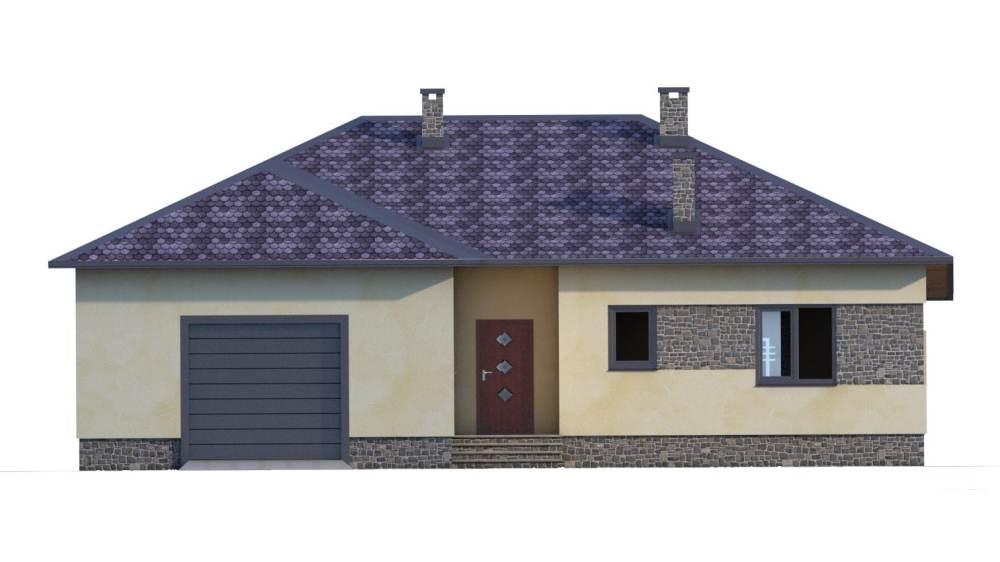 Фасад одноэтажного дома с гаражом и террасой «КО-51» - спереди