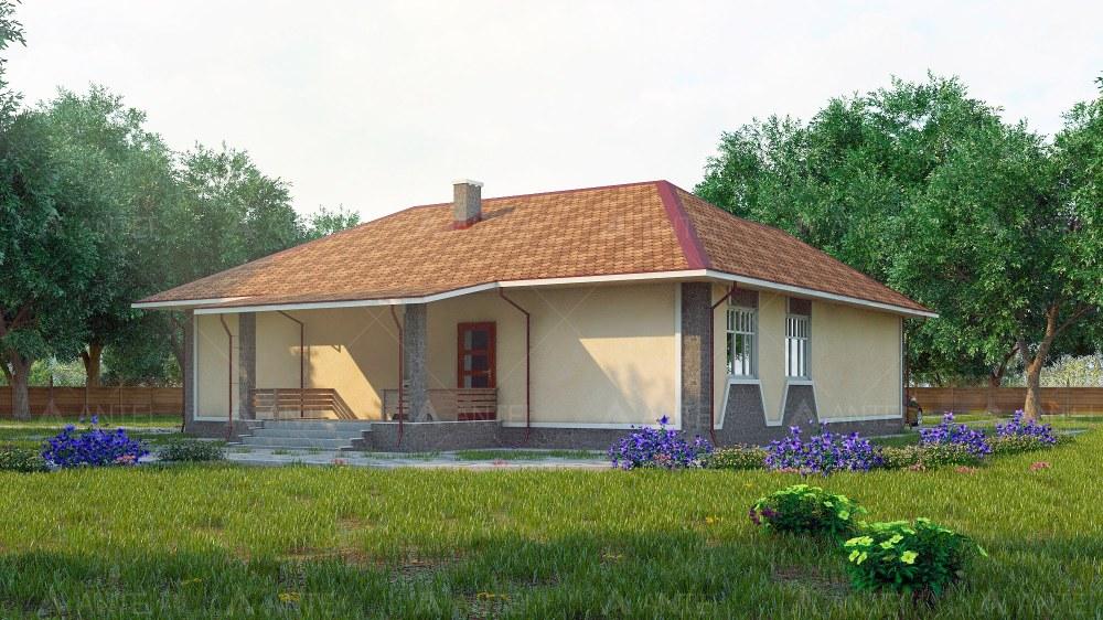Проект одноэтажного дома с гаражом и террасой «КО-52» - фото №2