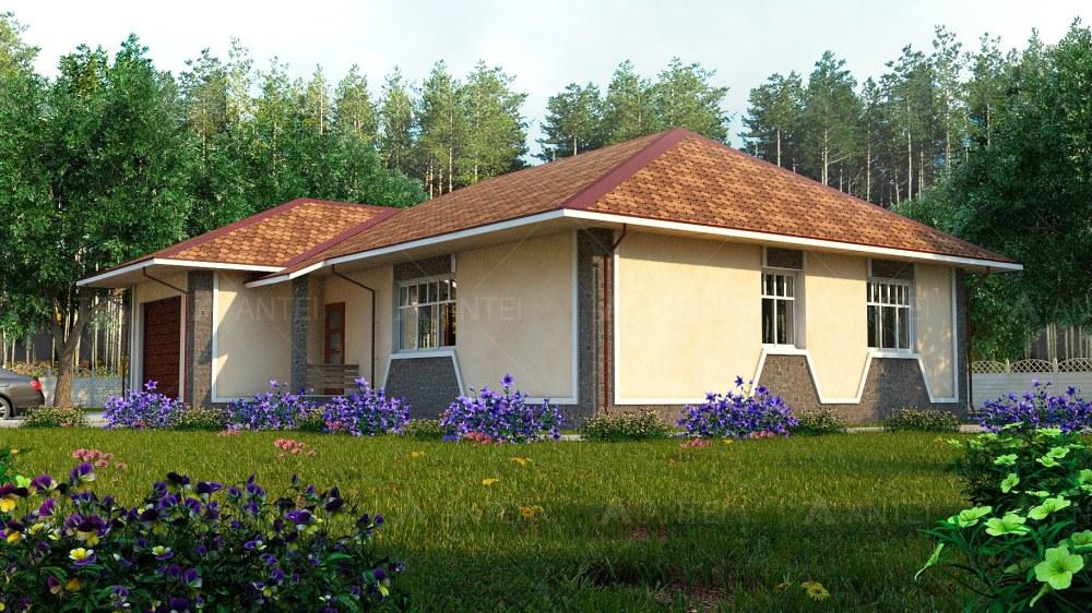 Проект одноэтажного дома с гаражом и террасой «КО-52» - фото №3