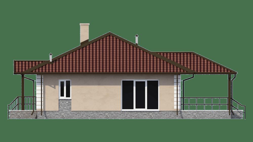 Фасад одноэтажного дома с террасой «КО-55» - справа