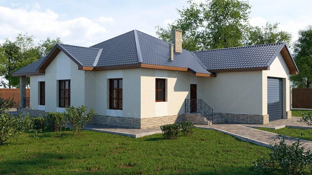 Проект одноэтажного дома с гаражом и террасой «КО-64» - фото №1