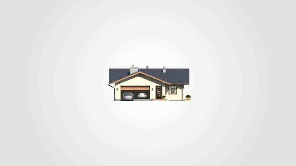 Фасад одноэтажного дома с гаражом и террасой «КО-110» - слева